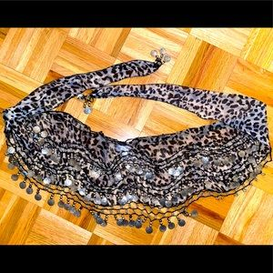 Leopard belly dancing beaded wrap skirt one size